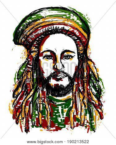 Portrait of rastaman. Jamaica theme. Reggae concept design. Tattoo art. Hand drawn grunge style art. Retro banner, card, t-shirt, bag, print, poster.Vintage colorful hand drawn vector illustration