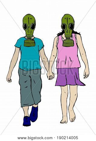 Kids with gas mask holding hands colored