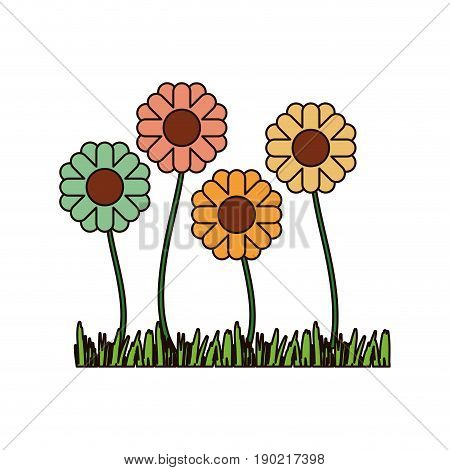 white background with sown of abstract sunflowers with thick contour vector illustration