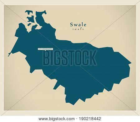 Modern Map - Swale District Uk Illustration