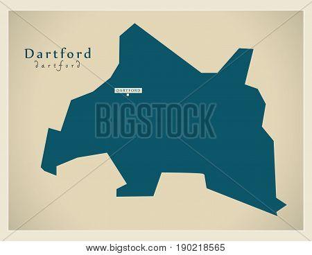 Modern Map - Dartford District Uk Illustration
