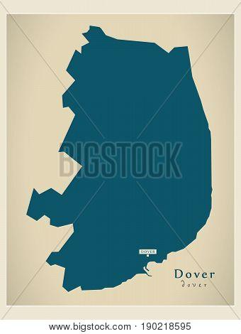 Modern Map - Dover District Uk Illustration