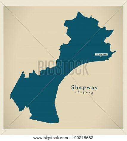 Modern Map - Shepway District Uk Illustration