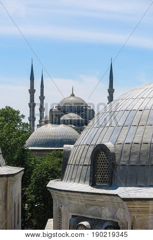 The Blue Mosque And Saint Sophie Cathedral, Istanbul, Turkey.