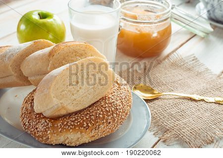 still life with dairy products milk eggs bread