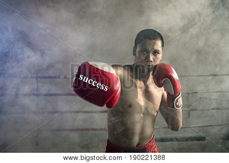 Thai boxers punch. Of Muay Thai Sports a professional extreme Thai boxer fighting. Same Business success full with the punch of Muay Thai Thailand.