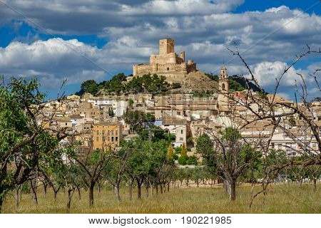 Biar town under the hill with castle in Alicante, Spain