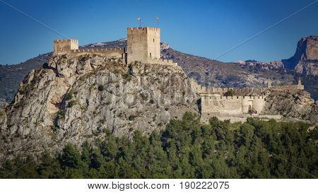 Profile view of the castle of Sax, a fortress of century XV over big rock in the province of Alicante, spain