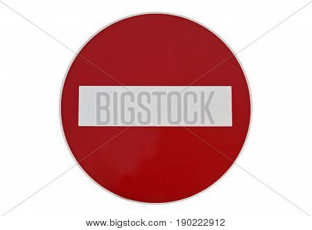 Street traffic sign meaning forbidden direction isolated on white background