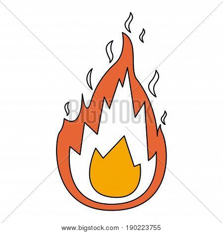 color sections silhouette of flame icon with thick contour vector illustration