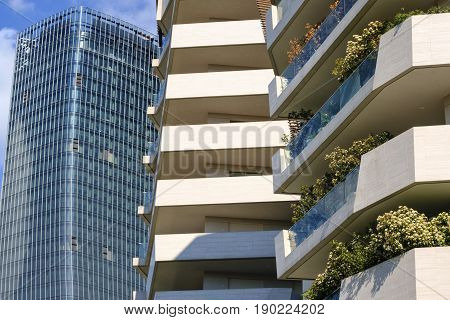 MILAN, ITALY - APRIL 17, 2017: Milan (Lombardy Italy): modern residential and office buildings in the new Citylife area (Tre Torri)