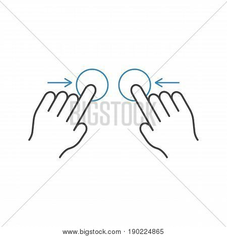 Two hand pinch line icon, touch and hand gestures, vector graphics, a color linear pattern on a white background, eps 10.