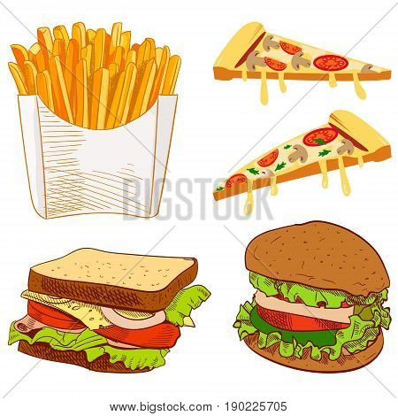 Set of fast food hand drawn VECTOR illustration on blue background. Fries, pizza slices, sandwich, burger isolated on white