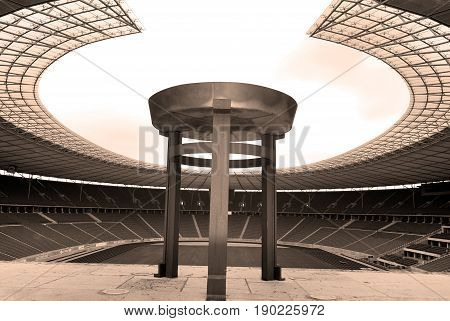 BERLIN-GERMANY MAY 23: Berlin's Olympia Stadium and the Olympic Cauldron was originally built for the 1936 Summer Olympics in the southern part of the Reichssportfeld on May 23 2010, Berlin Germany