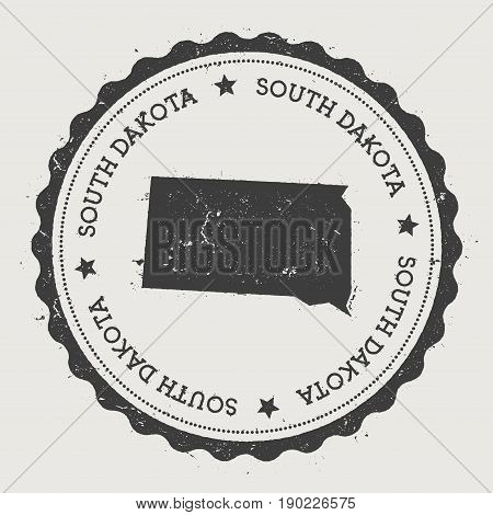 South Dakota Vector Sticker. Hipster Round Rubber Stamp With Us State Map. Vintage Passport Stamp Wi