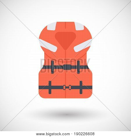 Offshore life jacket icon Flat design of swimming safety with round shadow vector illustration