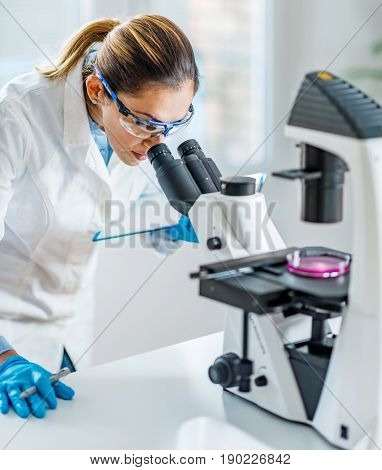 Female Scientist In Lab, Toned Image, Indoors, One Person Only