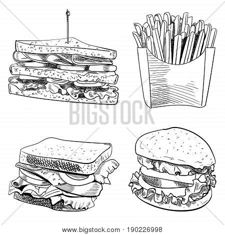 Set of fast food hand drawn VECTOR illustration on white background. Fries, sandwich, burger isolated on white, outline