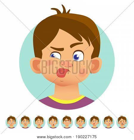 Set of human emotions. Facial expression. Set of emoticons. Stuck out tongue