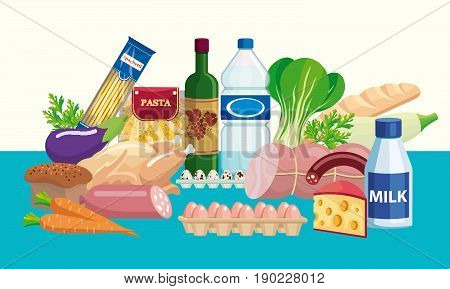 Foodstuffs. Set of food and drinks. Color vector illustration