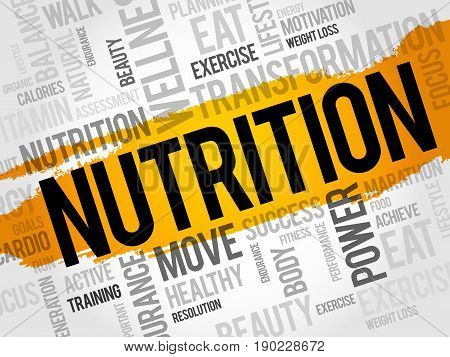 Nutrition word cloud fitness sport health concept