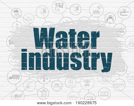 Industry concept: Painted blue text Water Industry on White Brick wall background with Scheme Of Hand Drawn Industry Icons