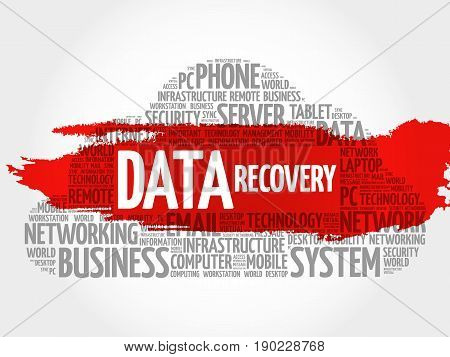 Data Recovery Word Cloud Collage