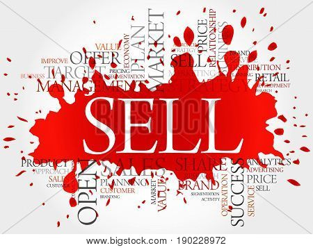 Sell word cloud collage, business concept background