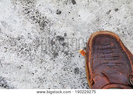 shoe tread cigarette on cement background. concept Non-smoking day universal