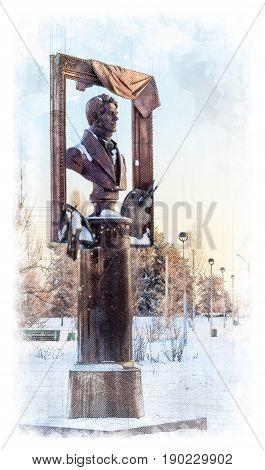 Architectural sketch monument to the Russian artist Alexey Gavrilovich Venetsianov. Russia, the city of Udomlya.