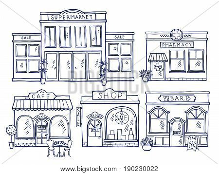 Buildings facade front view. Shop, cafe, mall and pharmacy. Doodle illustrations set. Facade of pharmacy and store building architecture