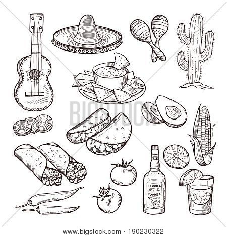 Fast food and other mexican culture elements. Sombrero, guitar, tequila and tacos. Vector hand drawn set. Culture mexican, illustration of tequila and guitar