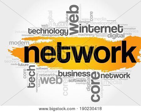 Network Word Cloud, Technology Concept