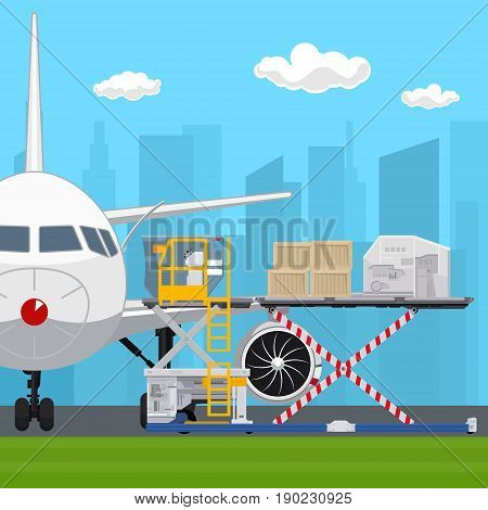 Transportation and Air Cargo Services Airplane with Autoloader on the Background of the City Unloading or Loading of Goods into the Plane Vector Illustration