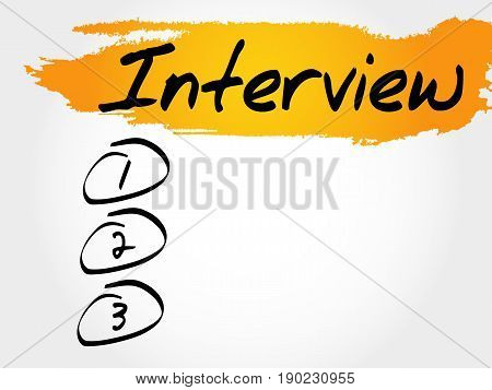Interview blank list , business concept background