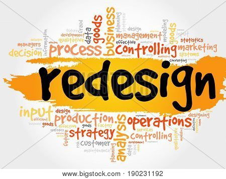REDESIGN word cloud collage, business concept background