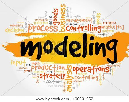 MODELING word cloud collage, business concept background