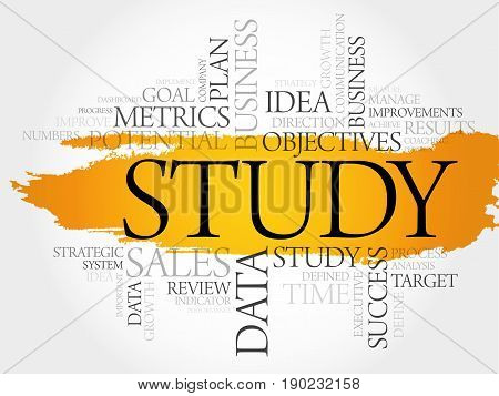 Study word cloud collage, business concept background