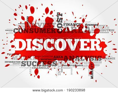 DISCOVER word cloud collage , business concept background