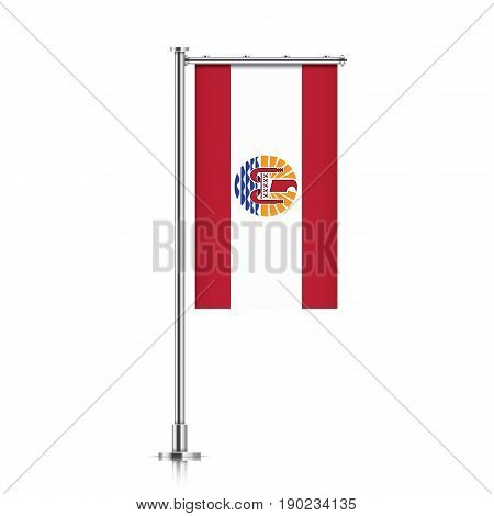French Polinesia vector banner flag hanging on a silver metallic pole. French Polinesia vertical flag template isolated on a white background.