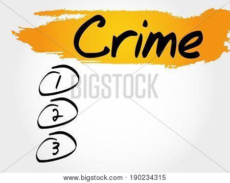 CRIME blank list , business concept background
