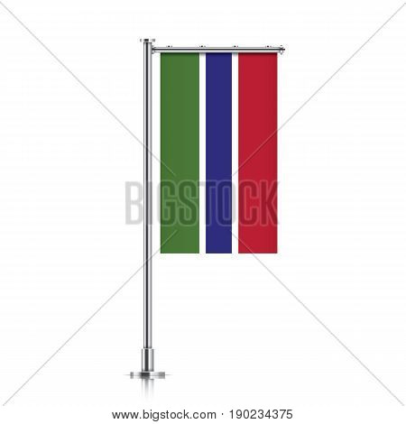 Gambia vector banner flag hanging on a silver metallic pole. Gambia vertical flag template isolated on a white background.