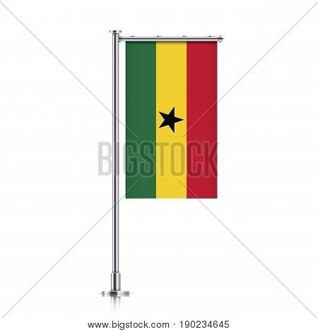 Ghana vector banner flag hanging on a silver metallic pole. Ghana vertical flag template isolated on a white background.