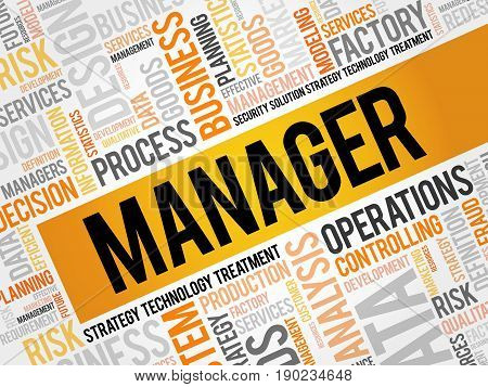 Manager word cloud collage, business concept background