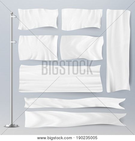 Realistic Template Blank White Flags Vector. Advertising Flag Banner And Fabric Canvas Poster For Advertising