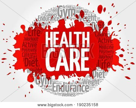 Health care circle word cloud fitness sport health concept