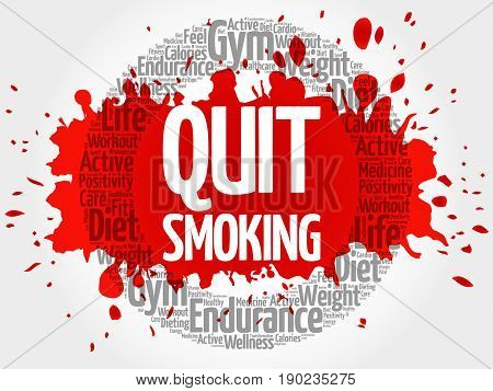 Quit Smoking circle stamp word cloud health concept