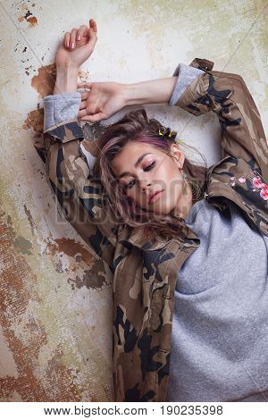 Cool Trendy Girl In Camouflage Jacket
