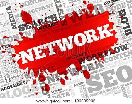 Network word cloud collage, business concept background