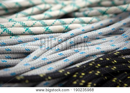 Various ropes on Board sailing boats Packed the coil to work with the sails